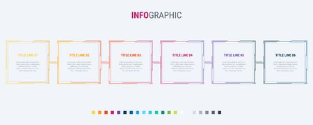 Colorful diagram, infographic template. Timeline with 6 options. Square workflow process for business. Vector design. Standard-Bild - 128516845