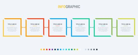 Vector infographics timeline design template with rectangular elements. Content, schedule, timeline, diagram, workflow, business, infographic, flowchart. 6 steps infographic. Standard-Bild - 128516849
