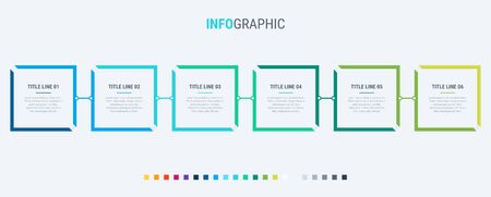 Vector infographics timeline design template with square elements. Content, schedule, timeline, diagram, workflow, business, infographic, flowchart. 6 options infographic.  イラスト・ベクター素材