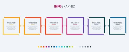 Timeline infographic design vector. 6 steps, square workflow layout. Vector infographic timeline template. Standard-Bild - 128516732