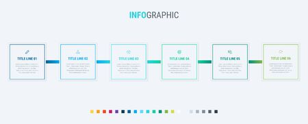 Abstract business square infographic template with 6 options. Colorful diagram, timeline and schedule isolated on light background.  イラスト・ベクター素材