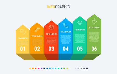 Vector infographics timeline design template with graph elements. Content, schedule, timeline, diagram, workflow, business, infographic, flowchart. 6 steps infographic.