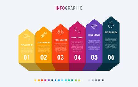 Timeline infographic design vector. 6 steps, graph workflow layout. Vector infographic timeline template.