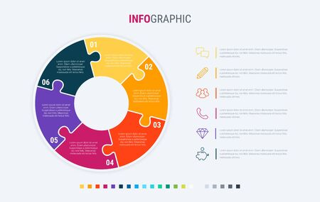 Infographic template. 6 options circle design with beautiful colors. Vector timeline elements for presentations.