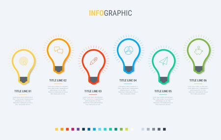 Vector infographics timeline design template with light bulbs elements. Content, schedule, timeline, diagram, workflow, business, infographic, flowchart. 6 steps infographic.  イラスト・ベクター素材