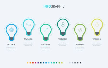 Vector infographics timeline design template with light bulbs elements. Content, schedule, timeline, diagram, workflow, business, infographic, flowchart. 6 options infographic.  イラスト・ベクター素材