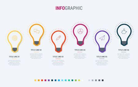 Timeline infographic design vector. 6 steps, light bulbs workflow layout. Vector infographic timeline template.