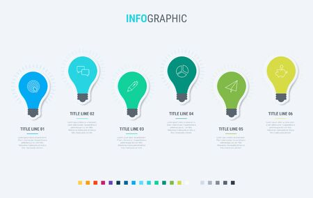 Light bulbs infographic template. 6 steps design with beautiful colors. Vector timeline elements for presentations.
