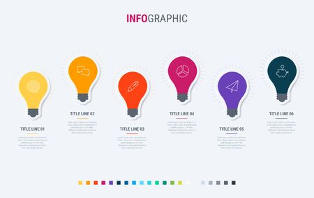 Light bulbs infographic template. 6 options design with beautiful colors. Vector timeline elements for presentations.  イラスト・ベクター素材
