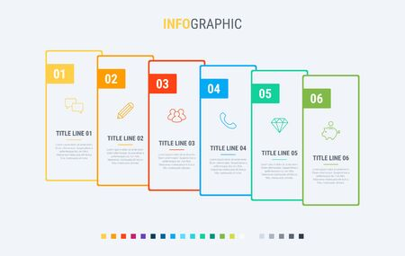 Timeline infographic design vector. 6 options, rectangular workflow layout. Vector infographic timeline template.  イラスト・ベクター素材