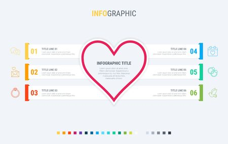 Infographic template. Love is in the air. 6 steps hearted design with beautiful colors. Vector timeline elements for presentations. 写真素材 - 133026022