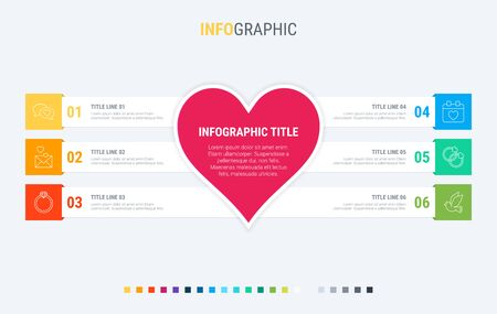 Colorful diagram, infographic template. Love infographic template with 6 steps. Heart workflow process for valentines. Vector design.