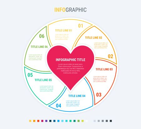 Infographic love template. 6 steps design with beautiful colors. Vector infographic elements for presentations. 写真素材 - 133025961