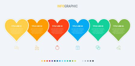 Love infographic template. 6 steps heart design with beautiful colors. Vector timeline elements for presentations. 写真素材 - 131721159