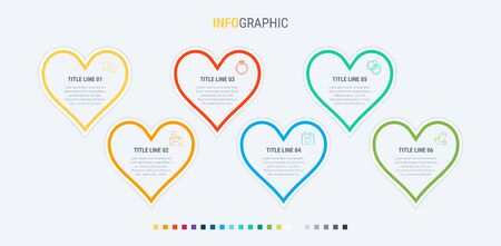 Infographic template. 6 hearts design with beautiful colors. Vector timeline elements for presentations. 写真素材 - 131721295