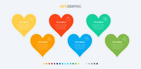 Colorful diagram, infographic template. Timeline with 6 hearts. Modular workflow process for love holidays. Vector design. 写真素材 - 131721227