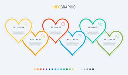 Vector infographics timeline design template with hearts elements. Content, schedule, timeline, valentines day, mothers day, flowchart. 6 steps infographic. 写真素材 - 133025956