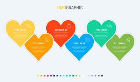 Timeline infographic design vector. 6 options, hearts workflow layout. Vector infographic timeline template. 写真素材 - 131721143