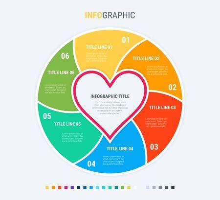 Infografische sjabloon. Er is liefde in de lucht. 6 stappen hartvormig ontwerp met prachtige kleuren. Vectortijdlijnelementen voor presentaties.
