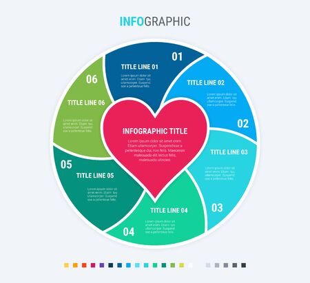 Colorful diagram, infographic template. Love infographic template with 6 steps. Heart workflow process for valentines. Vector design. Cold palette. 写真素材 - 133025963