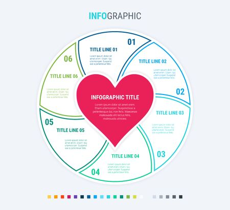 Infographic love template. 6 steps design with beautiful colors. Vector infographic elements for presentations. Cold palette.