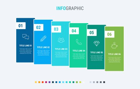 Colorful diagram, infographic template. Timeline with 6 options. Workflow process for business. Vector design. Cold palette. 写真素材 - 133025967