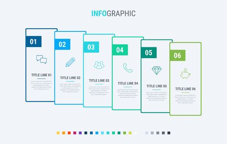 Timeline infographic design vector. 6 options, rectangular workflow layout. Vector infographic timeline template. Cold palette. 写真素材 - 133025964