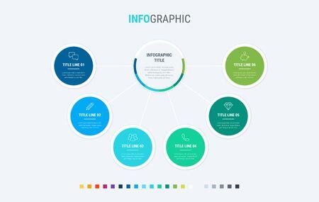Timeline infographic design vector. 6 options, circle workflow layout. Vector infographic timeline template. Cold palette. 写真素材 - 133025966
