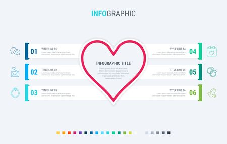 Infographic template. Love is in the air. 6 steps hearted design with beautiful colors. Vector timeline elements for presentations. Cold palette.