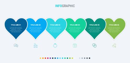 Love infographic template. 6 steps heart design with beautiful colors. Vector timeline elements for presentations. Cold palette. 写真素材 - 132637900