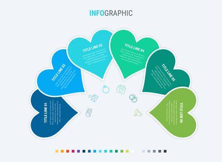 Timeline infographic design vector. 6 options, heart workflow layout. Vector infographic timeline template. Cold palette. 写真素材 - 133025976