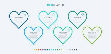 Infographic template. 6 hearts design with beautiful colors. Vector timeline elements for presentations. Cold palette. 写真素材 - 132637979