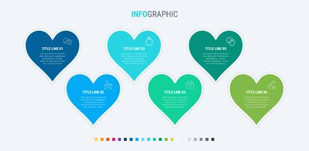 Colorful diagram, infographic template. Timeline with 6 hearts. Modular workflow process for love holidays. Vector design. Cold palette.  イラスト・ベクター素材