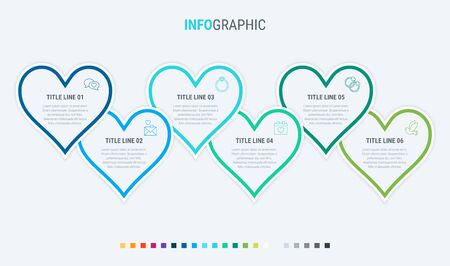 Vector infographics timeline design template with hearts elements. Content, schedule, timeline, valentines day, mothers day, flowchart. 6 steps infographic. Cold palette. 写真素材 - 132637539