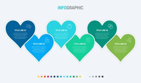 Timeline infographic design vector. 6 options, hearts workflow layout. Vector infographic timeline template. Cold palette. 写真素材 - 132637753