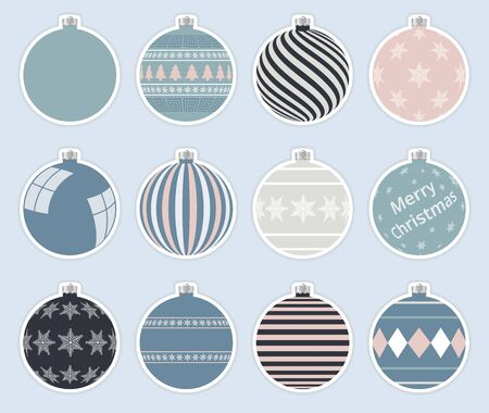 Magic, colorful christmas balls stickers isolated on gray background. High quality vector set of christmas baubles. Illustration