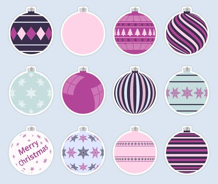 Magic, colorful christmas balls stickers isolated on gray background. High quality vector set of christmas baubles.