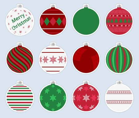 Magic, colorful christmas balls stickers isolated on gray background. High quality vector set of christmas baubles. 写真素材 - 138080191