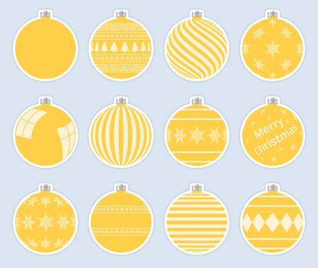 Magic, yellow christmas balls stickers isolated on gray background. High quality vector set of christmas baubles.
