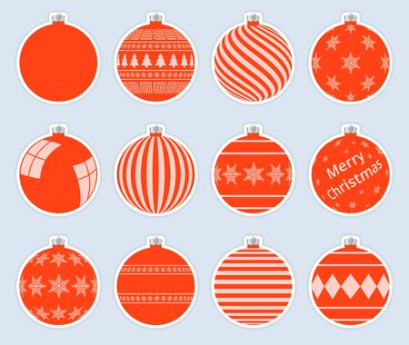 Magic, red christmas balls stickers isolated on gray background. High quality vector set of christmas baubles.  イラスト・ベクター素材