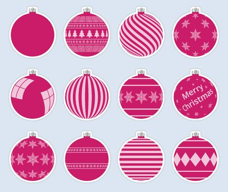 Magic, pink christmas balls stickers isolated on gray background. High quality vector set of christmas baubles.