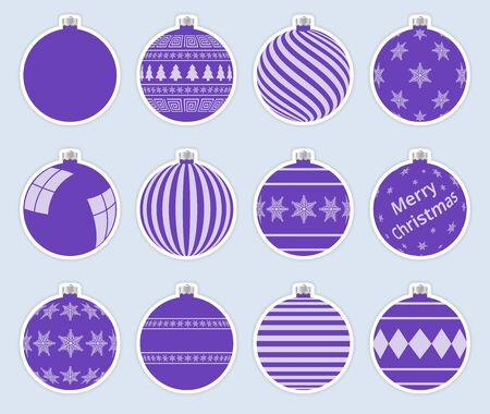 Magic, purple christmas balls stickers isolated on gray background. High quality vector set of christmas baubles. Vector Illustratie