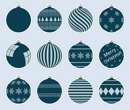 Magic, navy christmas balls stickers isolated on gray background. High quality vector set of christmas baubles.