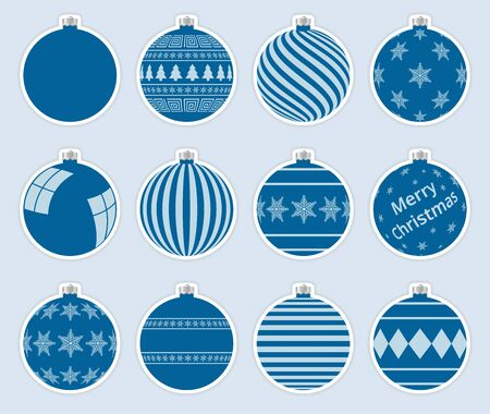 Magic, light navy christmas balls stickers isolated on gray background. High quality vector set of christmas baubles.