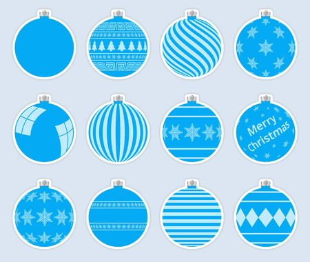 Magic, blue christmas balls stickers isolated on gray background. High quality vector set of christmas baubles.