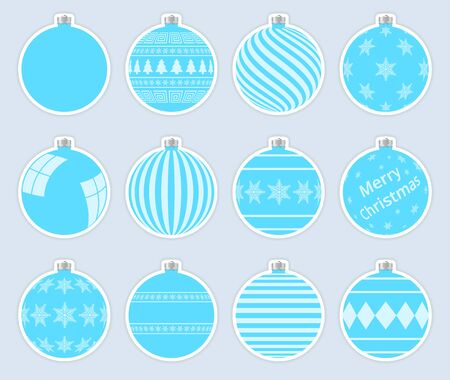 Magic, light blue christmas balls stickers isolated on gray background. High quality vector set of christmas baubles.