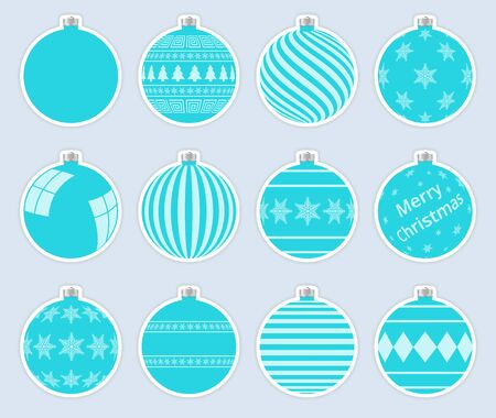 Magic, aquamarine christmas balls stickers isolated on gray background. High quality vector set of christmas baubles.