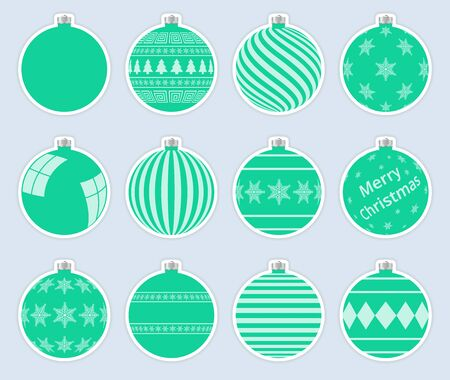 Magic, aquamarine christmas balls stickers isolated on gray background. High quality vector set of christmas baubles. 写真素材 - 138080483