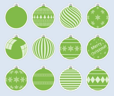 Magic, light green christmas balls stickers isolated on gray background. High quality vector set of christmas baubles. Vector Illustratie