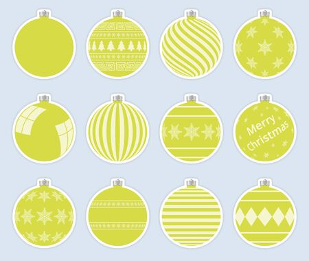 Magic, yellow-green christmas balls stickers isolated on gray background. High quality vector set of christmas baubles.